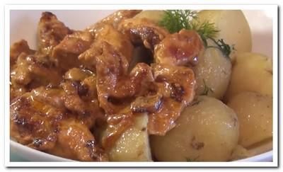 грудка куриная в сметанном соусе на сковороде