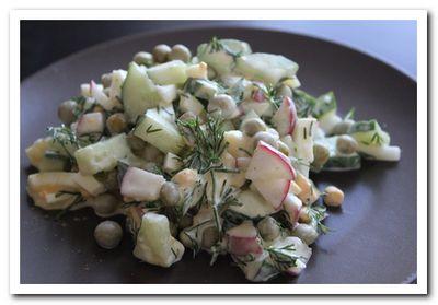 рецепт летнего салата из редиски огурца и яиц