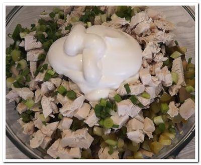 как приготовить салат курица грибы огурцы