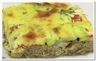 запеканка из кабачков с сыром, фаршем и помидорами