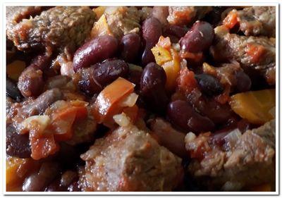 фасоль с говядиной и овощами