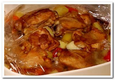 курица с овощами в рукаве запеченная в духовке