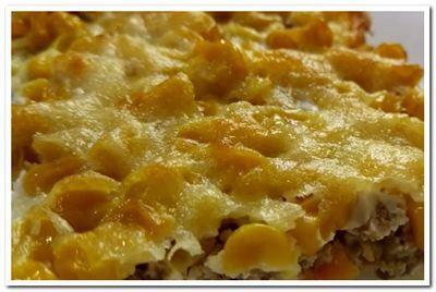 запеканка с рисом, фаршем и сыром
