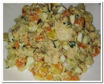 рецепт салата с отварной рыбой