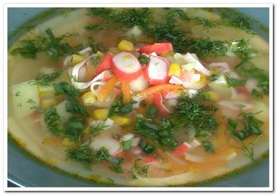 суп с крабовыми палочками рецепт с кукурузой