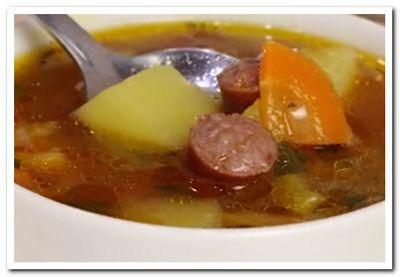 суп с охотничьими колбасками рецепт приготовления