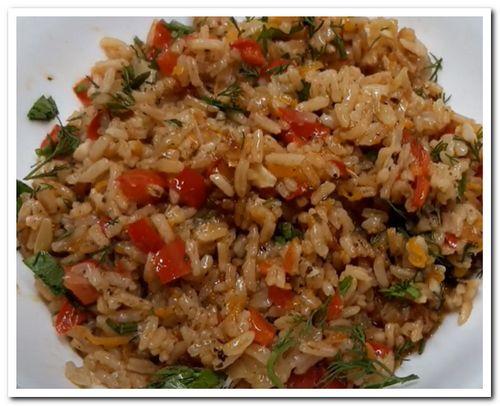 рецепт риса с овощами на сковороде