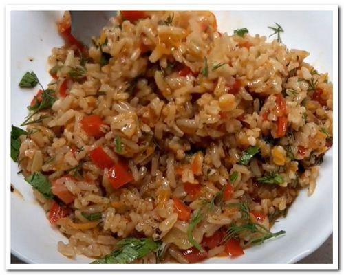 рис с овощами рецепт приготовления на сковороде