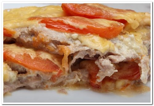 мясо свинины с помидорами и сыром рецепт