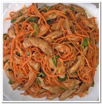 рецепт салата с корейской морковкой и курицей